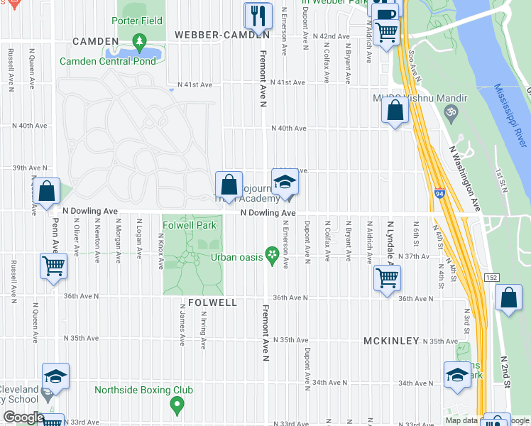 map of restaurants, bars, coffee shops, grocery stores, and more near Fremont Ave N & N Dowling Ave in Minneapolis