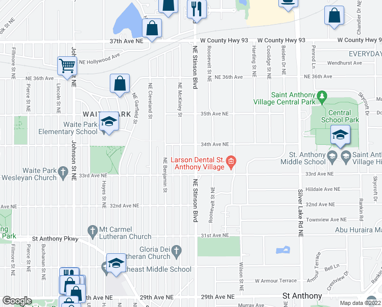map of restaurants, bars, coffee shops, grocery stores, and more near 3321 Northeast McKinley Street in Minneapolis