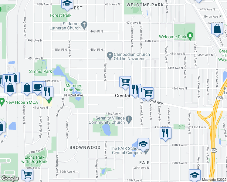 map of restaurants, bars, coffee shops, grocery stores, and more near 6402 42nd Avenue North in Minneapolis