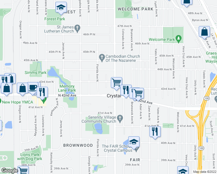 map of restaurants, bars, coffee shops, grocery stores, and more near 4224 Edgewood Avenue North in Minneapolis