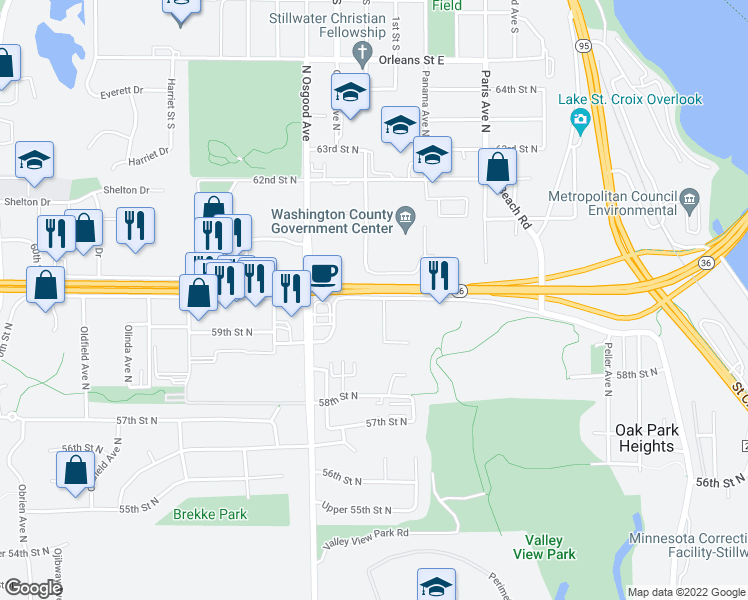 map of restaurants, bars, coffee shops, grocery stores, and more near 6001 Oxboro Avenue North in Oak Park Heights