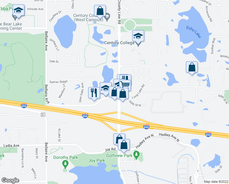 map of restaurants, bars, coffee shops, grocery stores, and more near 3181-3191 Century Avenue North in White Bear Lake