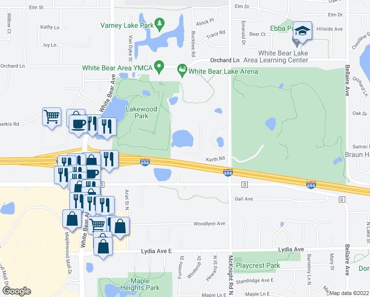 map of restaurants, bars, coffee shops, grocery stores, and more near 3185 Karth Road in White Bear Lake