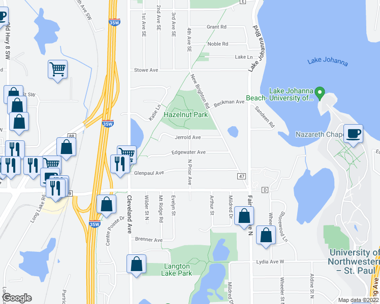 map of restaurants, bars, coffee shops, grocery stores, and more near Edgewater Avenue in Arden Hills