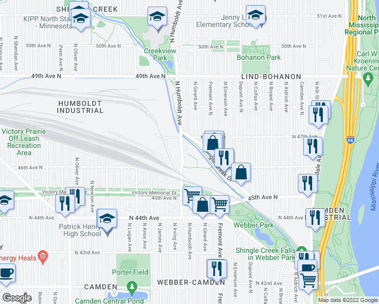 map of restaurants, bars, coffee shops, grocery stores, and more near 4600 Humboldt Avenue North in Minneapolis