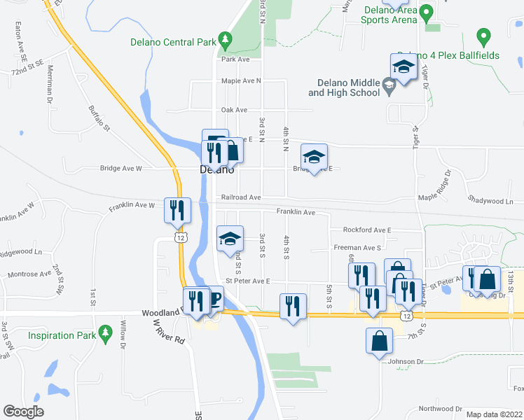 map of restaurants, bars, coffee shops, grocery stores, and more near 3rd St S & Franklin Ave E in Delano