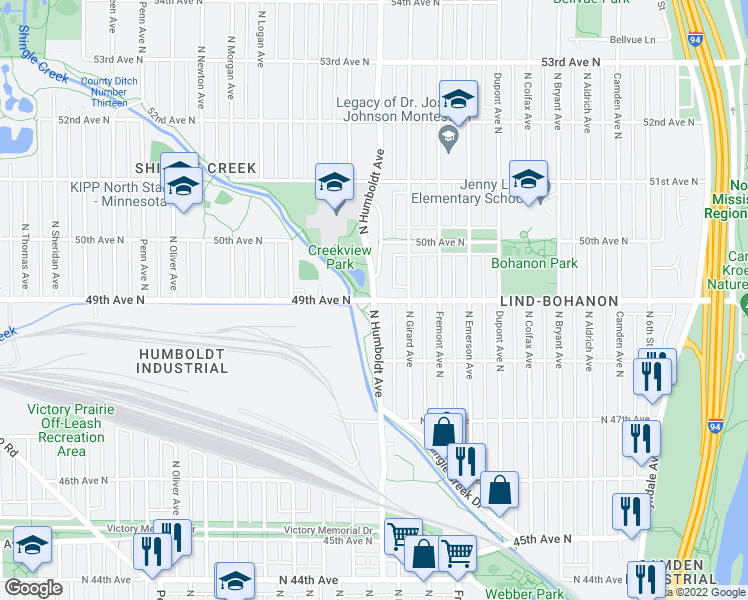 map of restaurants, bars, coffee shops, grocery stores, and more near N Humboldt Ave & 49th Ave N in Minneapolis