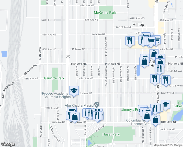 map of restaurants, bars, coffee shops, grocery stores, and more near 515-525 43rd Avenue Northeast in Columbia Heights