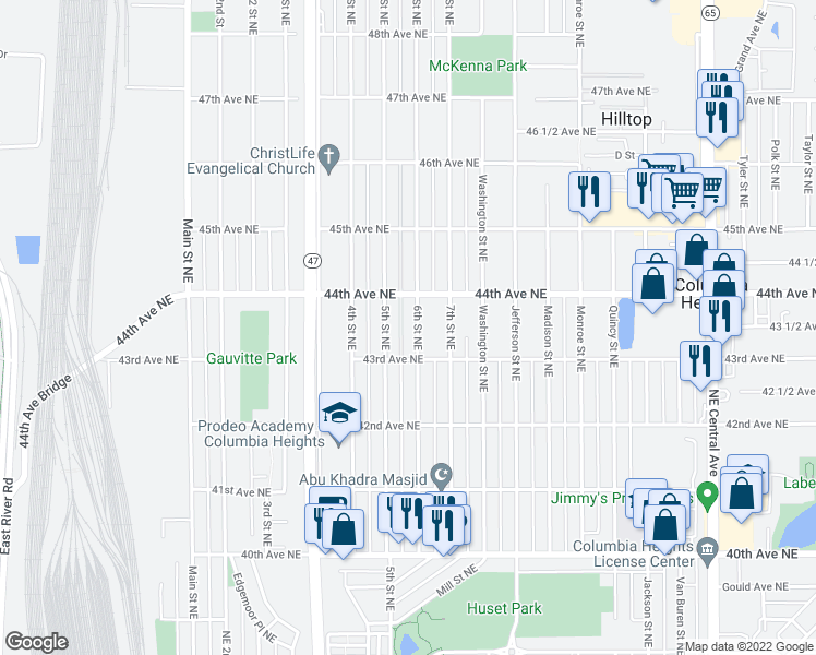 map of restaurants, bars, coffee shops, grocery stores, and more near 4354 6th Street Northeast in Minneapolis