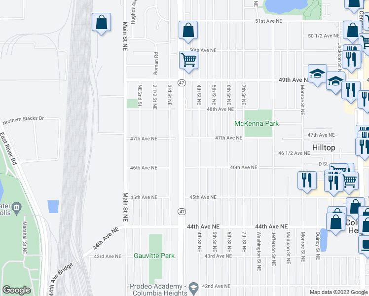 map of restaurants, bars, coffee shops, grocery stores, and more near 4621 University Avenue Northeast in Minneapolis