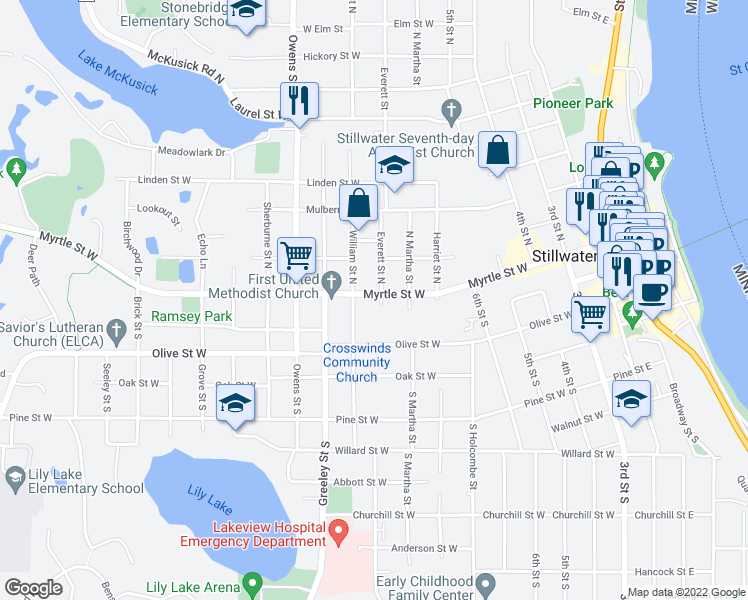 map of restaurants, bars, coffee shops, grocery stores, and more near 703 Myrtle Street West in Stillwater