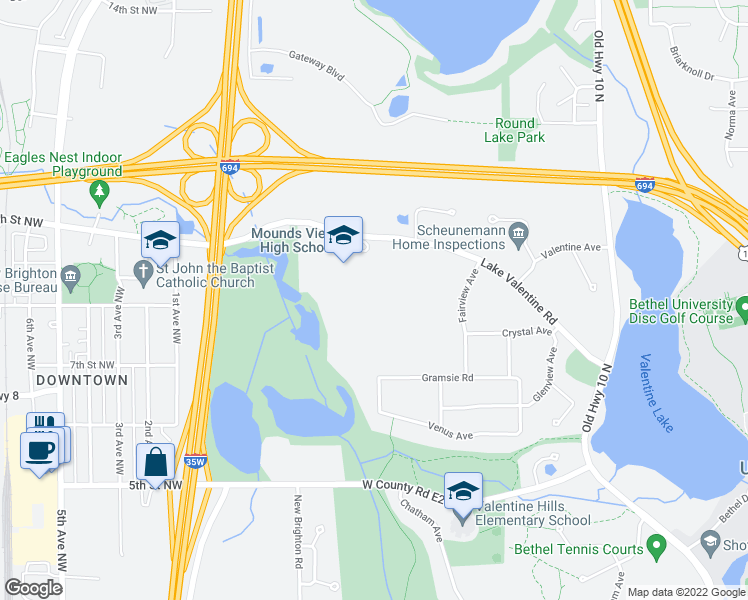 map of restaurants, bars, coffee shops, grocery stores, and more near 1900 Lake Valentine Road in Arden Hills