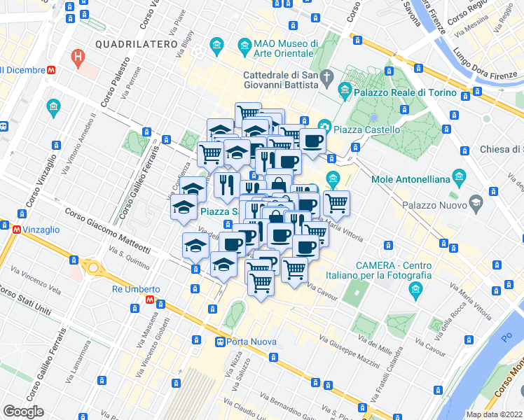 map of restaurants, bars, coffee shops, grocery stores, and more near 216 Piazza San Carlo in Torino
