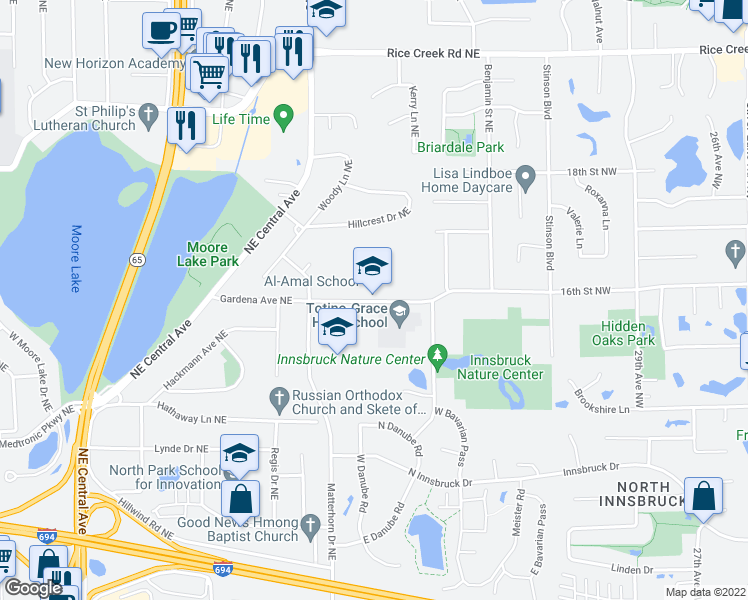 map of restaurants, bars, coffee shops, grocery stores, and more near 1401 Gardena Avenue Northeast in Fridley