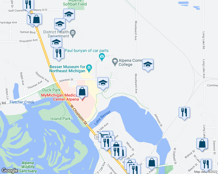 map of restaurants, bars, coffee shops, grocery stores, and more near 492-664 Johnson Street in Alpena