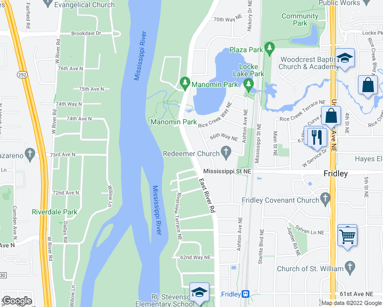 map of restaurants, bars, coffee shops, grocery stores, and more near 6530 East River Road in Minneapolis