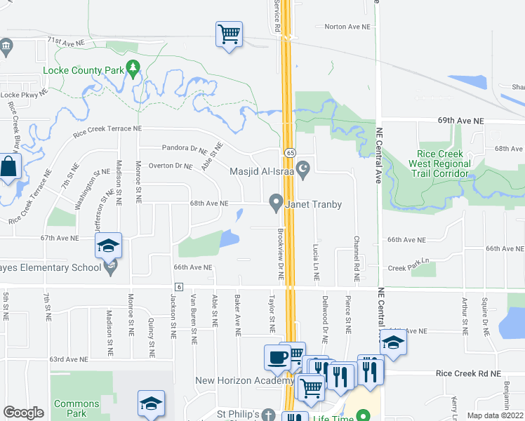 map of restaurants, bars, coffee shops, grocery stores, and more near 6801 Oakley Street Northeast in Fridley