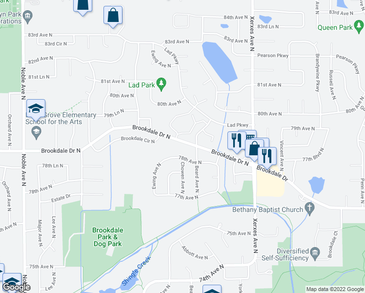 map of restaurants, bars, coffee shops, grocery stores, and more near 3517 Brookdale Drive North in Minneapolis