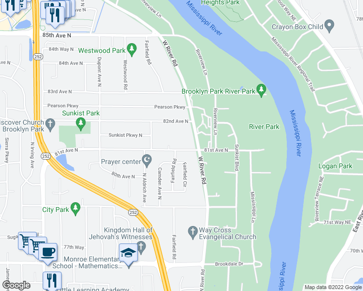 map of restaurants, bars, coffee shops, grocery stores, and more near 500 81st Avenue North in Minneapolis