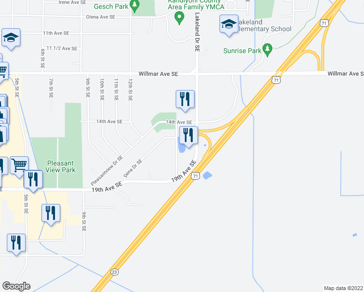 map of restaurants, bars, coffee shops, grocery stores, and more near 1601 15th Street Southeast in Willmar