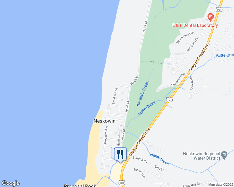map of restaurants, bars, coffee shops, grocery stores, and more near 47825 Breakers Boulevard in Neskowin
