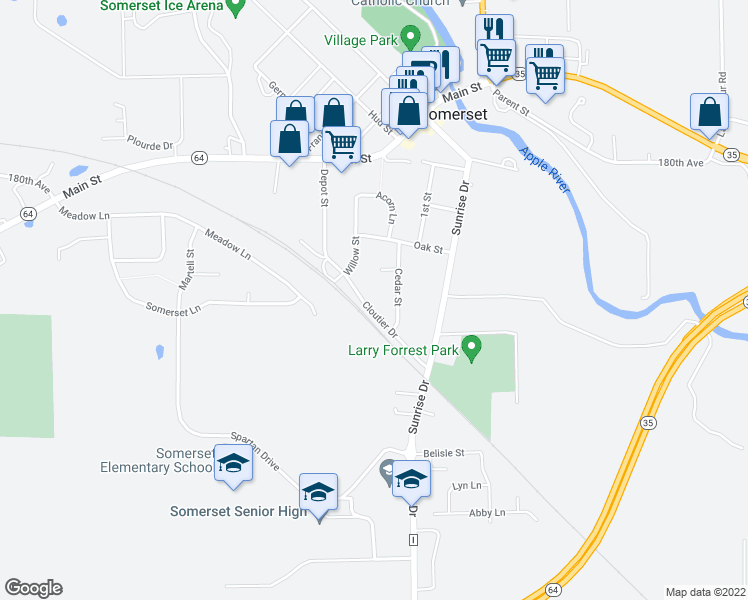 map of restaurants, bars, coffee shops, grocery stores, and more near 208 Cloutier Drive in Somerset