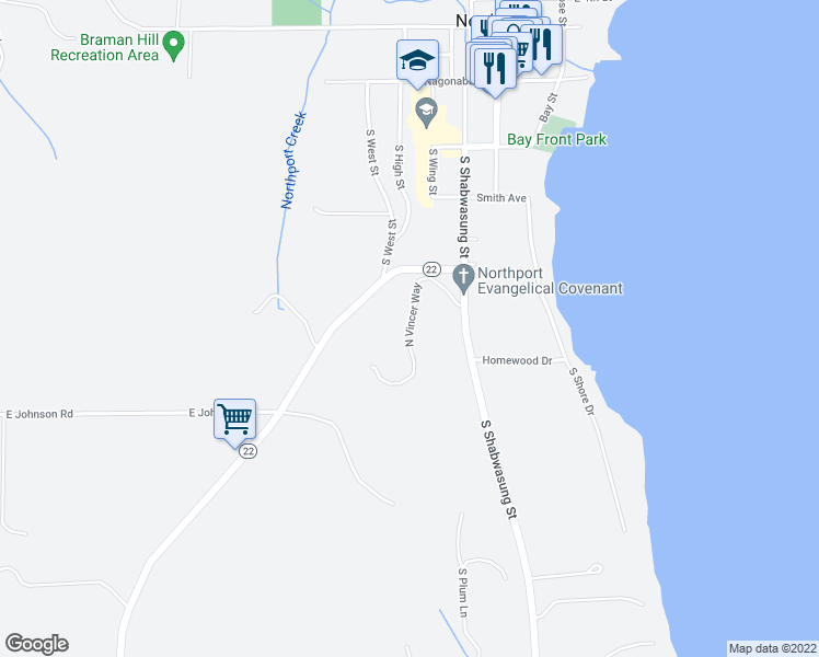map of restaurants, bars, coffee shops, grocery stores, and more near North Vincer Way in Northport