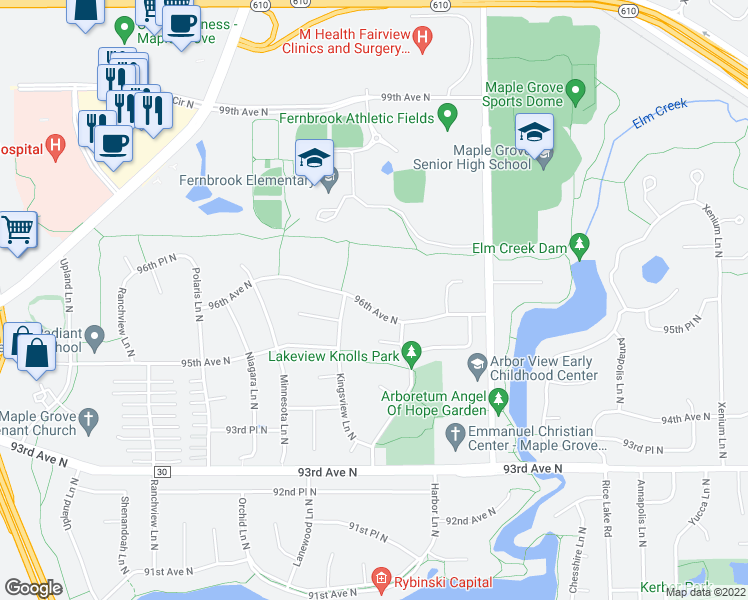 map of restaurants, bars, coffee shops, grocery stores, and more near 14700 96th Avenue North in Maple Grove