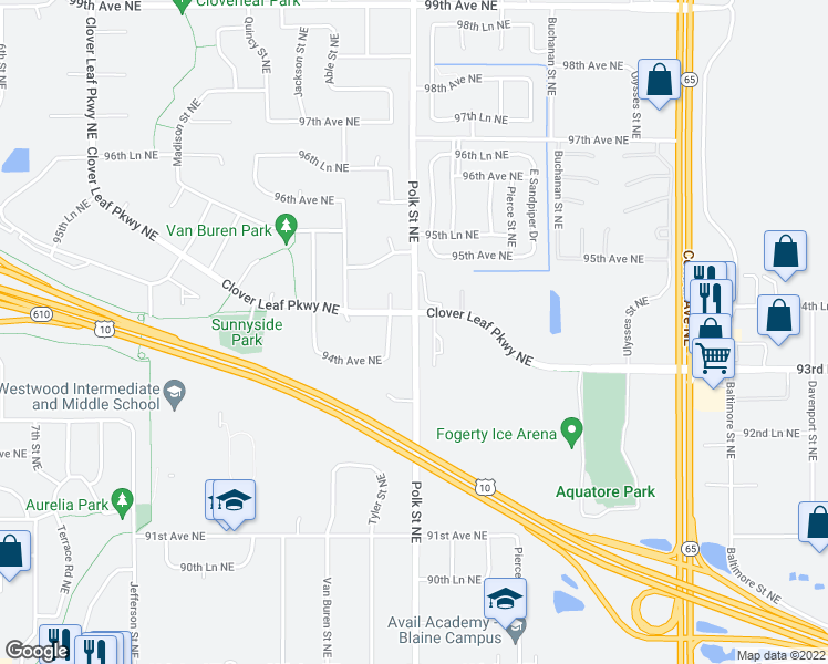 map of restaurants, bars, coffee shops, grocery stores, and more near 9401 Polk Street Northeast in Blaine