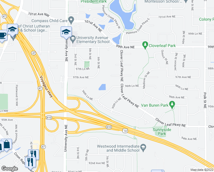 map of restaurants, bars, coffee shops, grocery stores, and more near 301 96th Lane Northeast in Blaine