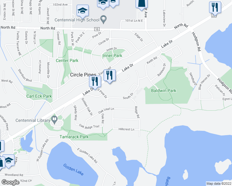 map of restaurants, bars, coffee shops, grocery stores, and more near 96 Circle Drive in Circle Pines