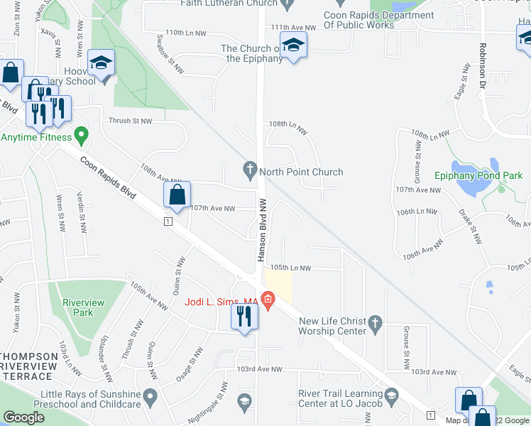 map of restaurants, bars, coffee shops, grocery stores, and more near 10701 Hanson Boulevard Northwest in Coon Rapids