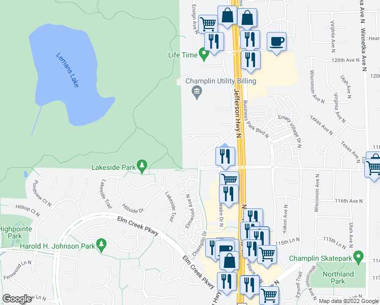 map of restaurants, bars, coffee shops, grocery stores, and more near 11719 Champlin Drive in Champlin