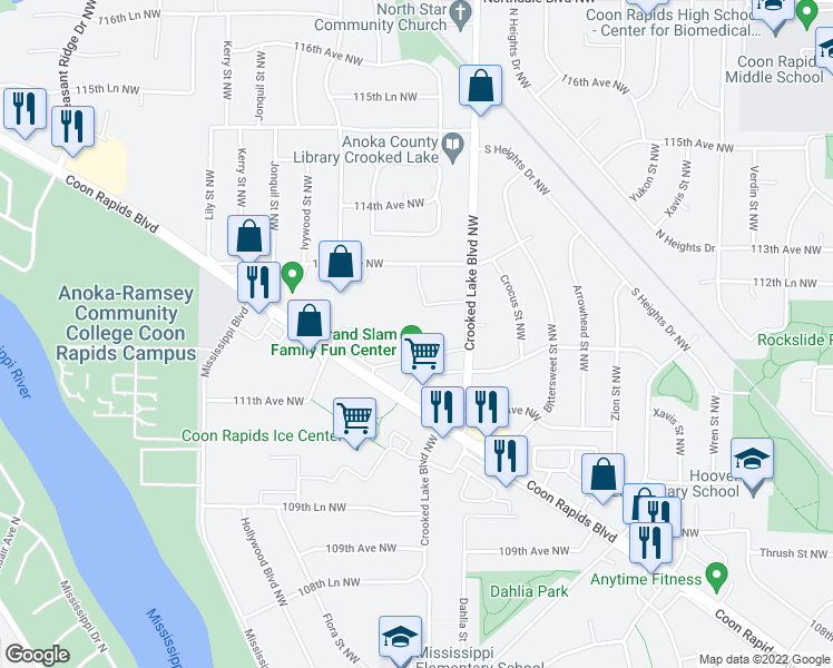 map of restaurants, bars, coffee shops, grocery stores, and more near 2941 Coon Rapids Boulevard Northwest in Coon Rapids