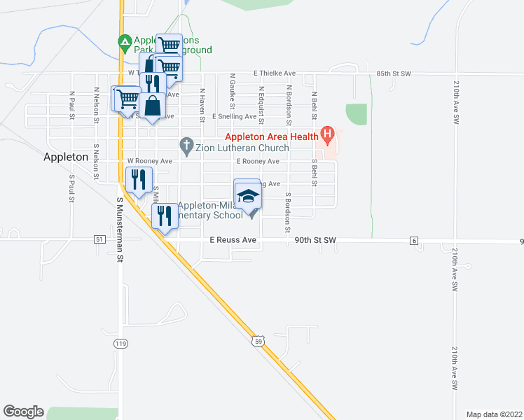map of restaurants, bars, coffee shops, grocery stores, and more near 300-398 East Robertson Avenue in Appleton