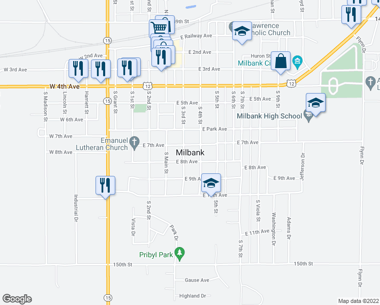 map of restaurants, bars, coffee shops, grocery stores, and more near in Milbank