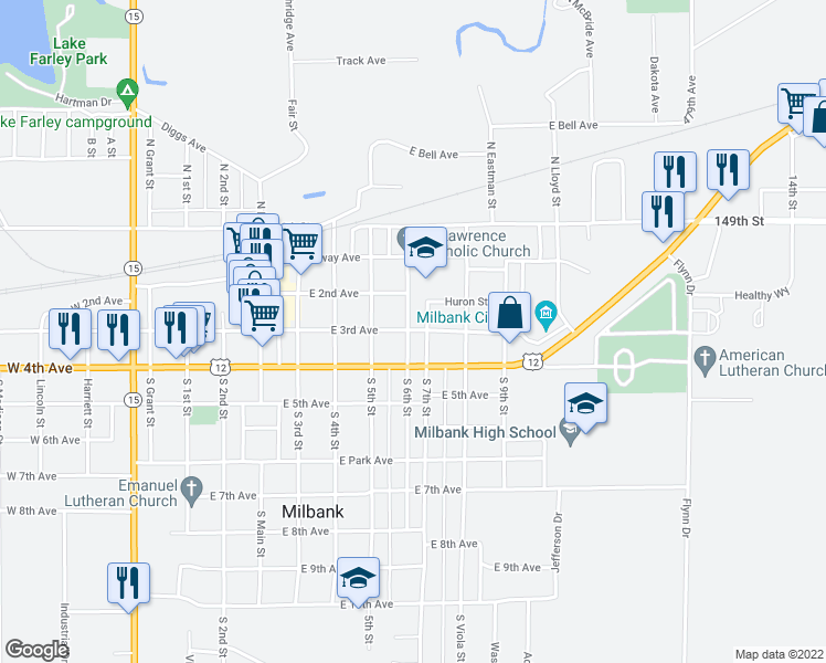 map of restaurants, bars, coffee shops, grocery stores, and more near 301 South 6th Street in Milbank