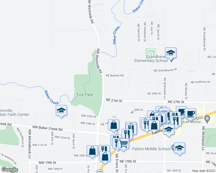 map of restaurants, bars, coffee shops, grocery stores, and more near 351 Northeast 28th Place in McMinnville