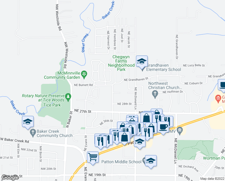 map of restaurants, bars, coffee shops, grocery stores, and more near 3000-3034 Northeast Hembree Street in McMinnville