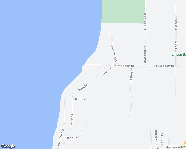 map of restaurants, bars, coffee shops, grocery stores, and more near 11760 Beach Road in Ellison Bay