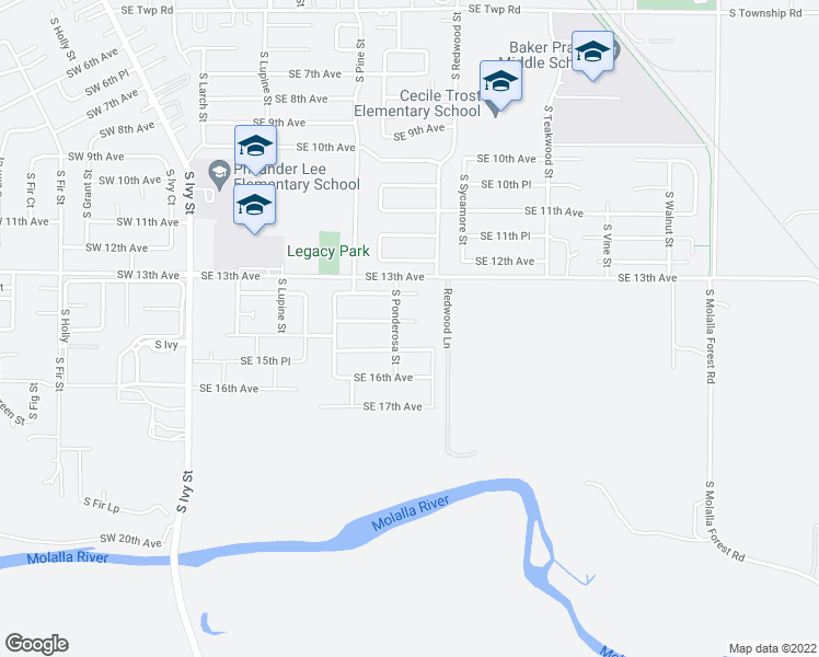 map of restaurants, bars, coffee shops, grocery stores, and more near 1317 Southeast 14th Avenue in Canby