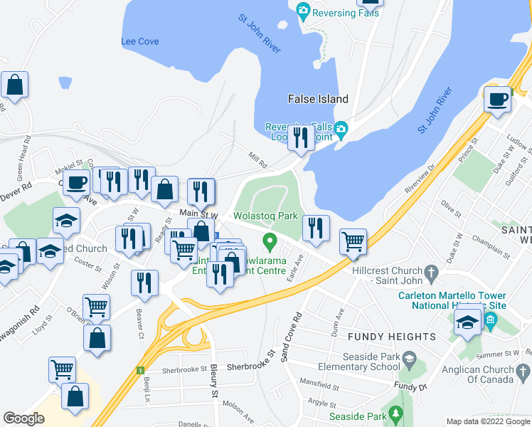 map of restaurants, bars, coffee shops, grocery stores, and more near 209-225 Lancaster Avenue in Saint John
