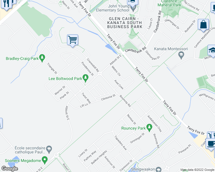 map of restaurants, bars, coffee shops, grocery stores, and more near 356 Rouncey Road in Ottawa