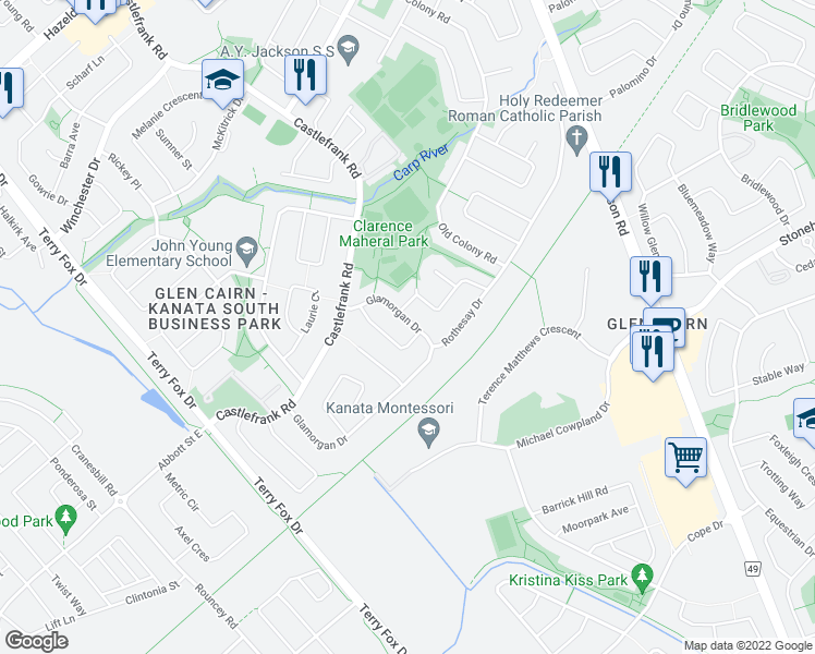 map of restaurants, bars, coffee shops, grocery stores, and more near 36 Glamorgan Drive in Ottawa
