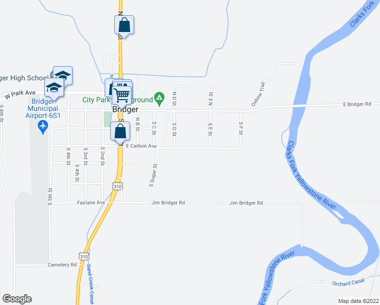 map of restaurants, bars, coffee shops, grocery stores, and more near 410 East Carbon Avenue in Bridger