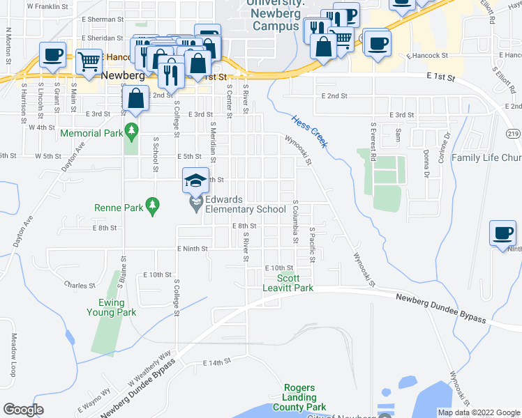 map of restaurants, bars, coffee shops, grocery stores, and more near 1209 East 8th Street in Newberg
