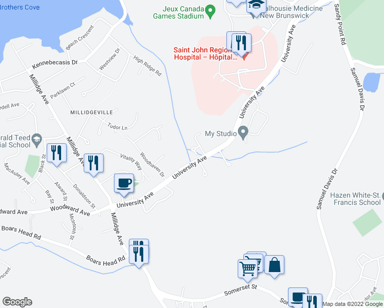 map of restaurants, bars, coffee shops, grocery stores, and more near 2-5 Alpha Place in Saint John
