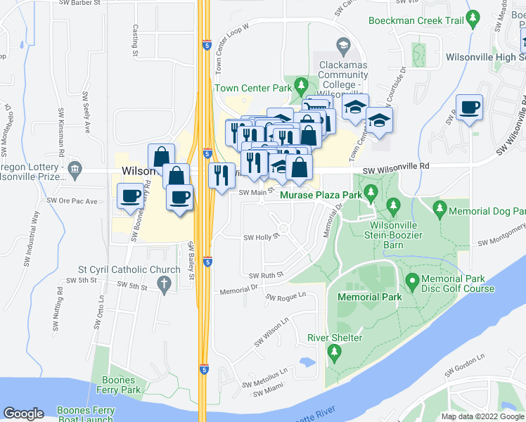 map of restaurants, bars, coffee shops, grocery stores, and more near 30050 Town Center Loop West in Wilsonville