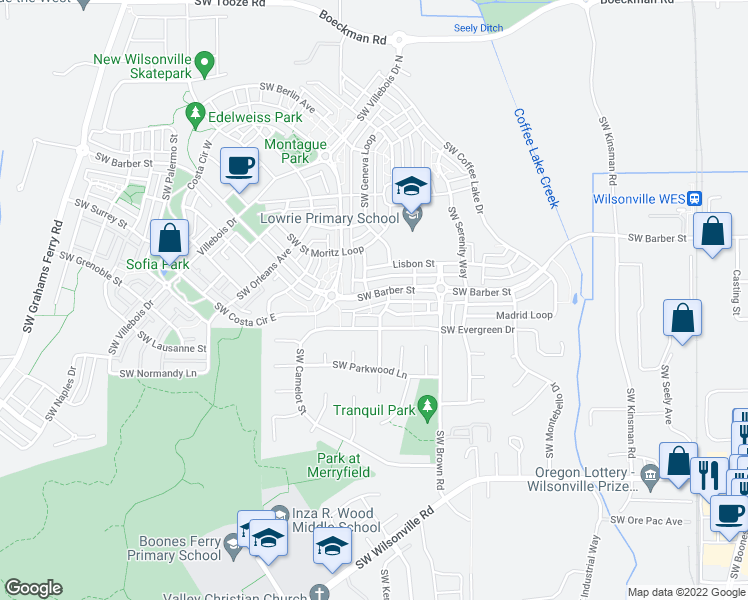map of restaurants, bars, coffee shops, grocery stores, and more near 10910 Southwest Barber Street in Wilsonville
