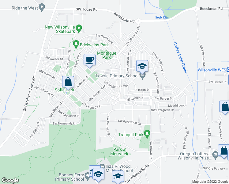 map of restaurants, bars, coffee shops, grocery stores, and more near 29275 Southwest Costa Circle East in Wilsonville